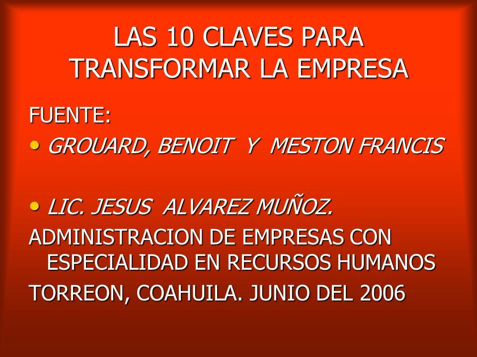 LAS 10 CLAVES PARA TRANSFORMAR LA EMPRESA