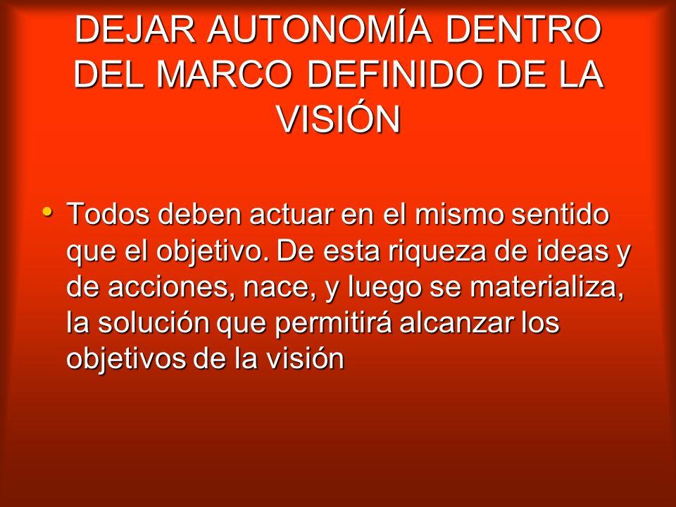 DEJAR AUTONOMÍA DENTRO DEL MARCO DEFINIDO DE LA VISIÓN