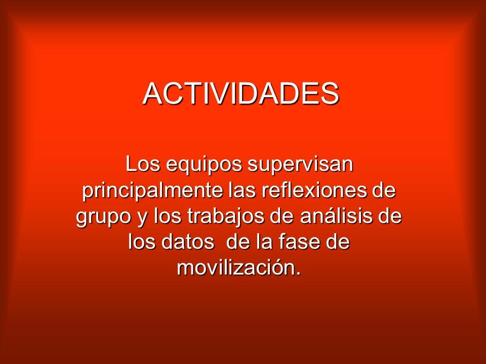 ACTIVIDADES Los equipos supervisan principalmente las reflexiones de grupo y los trabajos de análisis de los datos de la fase de movilización.
