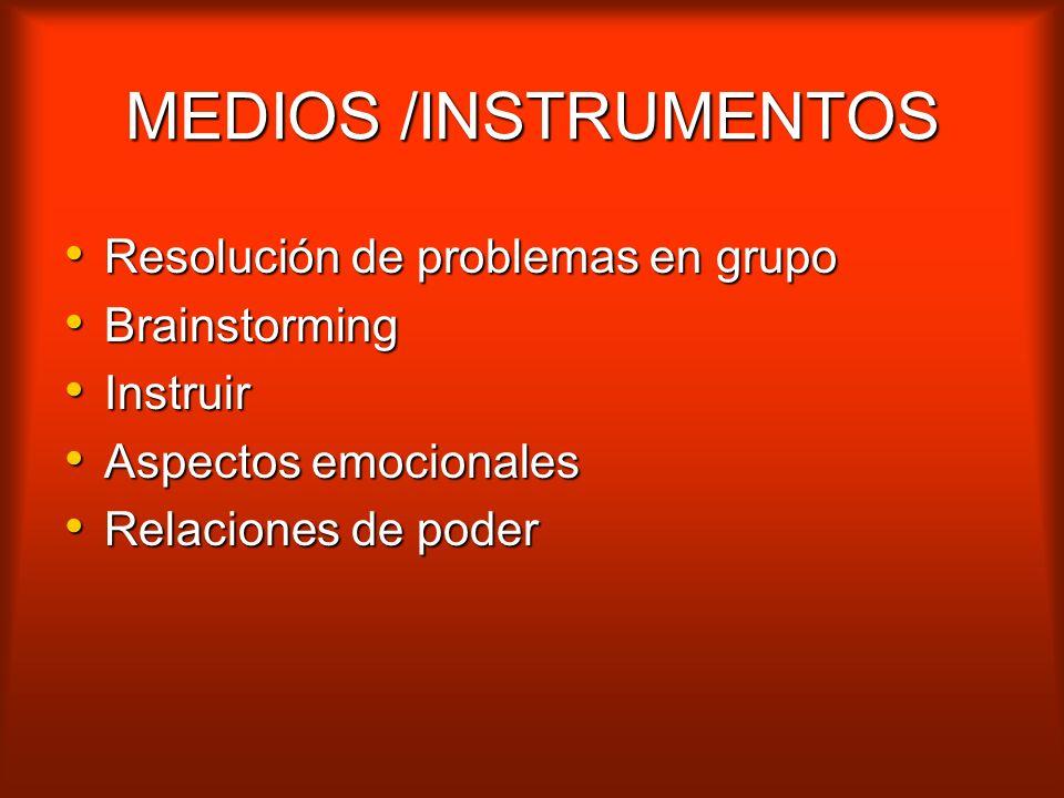 MEDIOS /INSTRUMENTOS Resolución de problemas en grupo Brainstorming