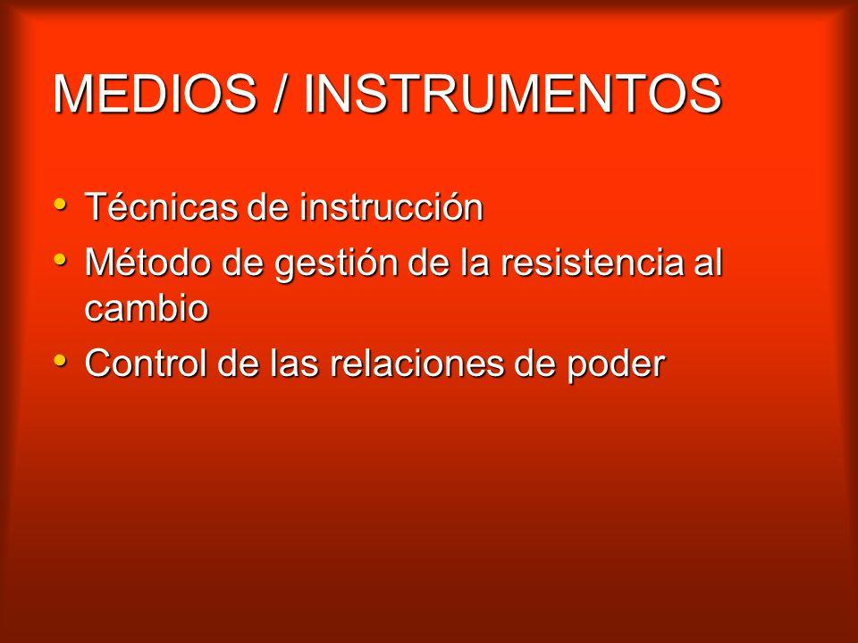 MEDIOS / INSTRUMENTOS Técnicas de instrucción