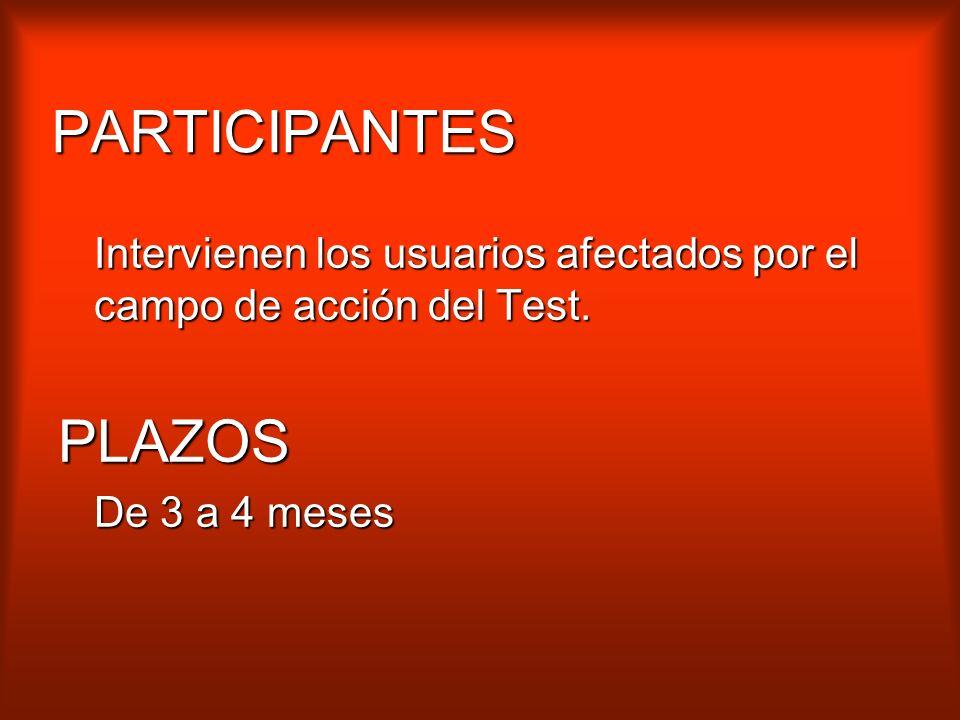 PARTICIPANTES Intervienen los usuarios afectados por el campo de acción del Test.