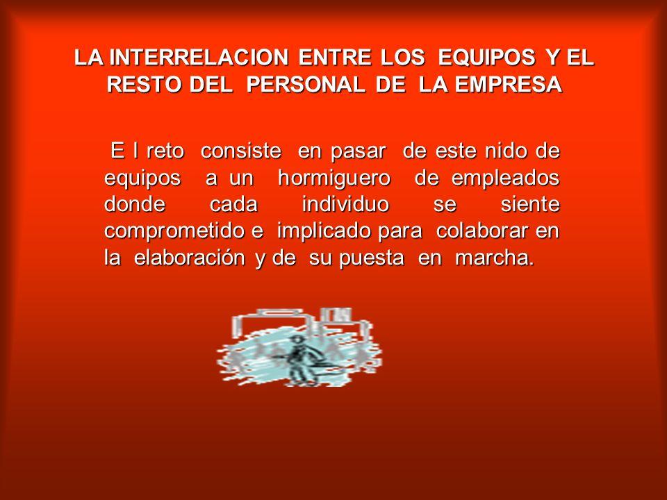 LA INTERRELACION ENTRE LOS EQUIPOS Y EL RESTO DEL PERSONAL DE LA EMPRESA