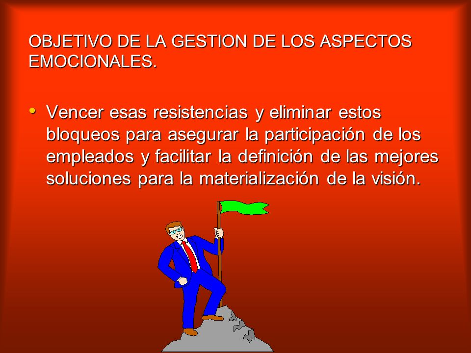 OBJETIVO DE LA GESTION DE LOS ASPECTOS EMOCIONALES.