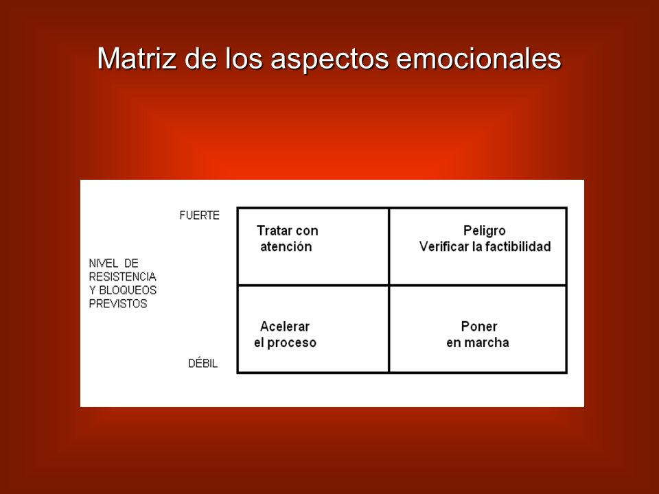 Matriz de los aspectos emocionales