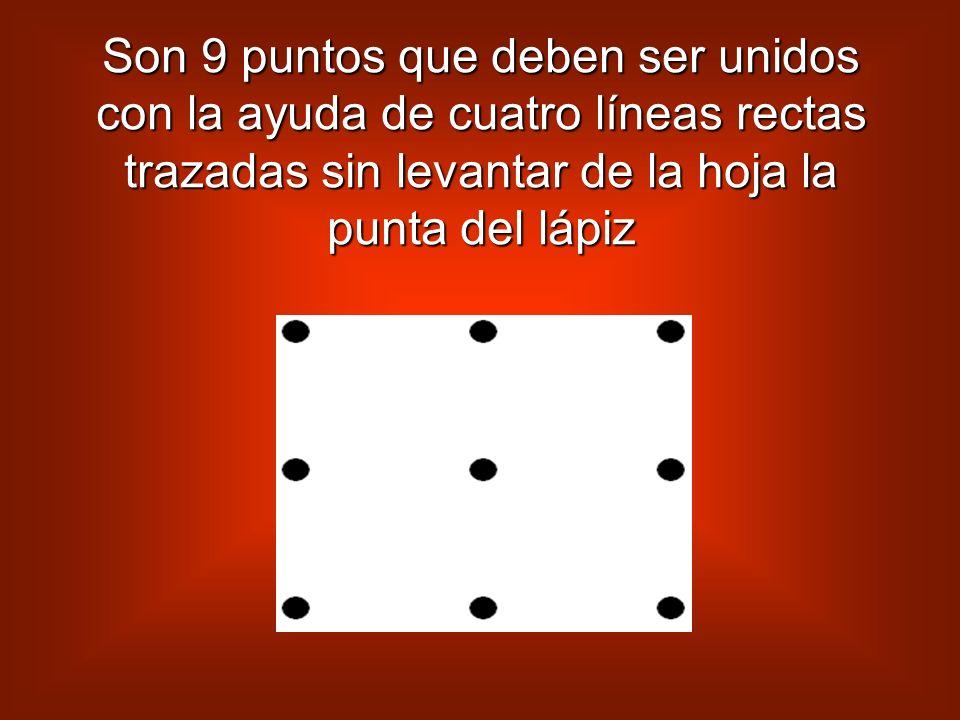 Son 9 puntos que deben ser unidos con la ayuda de cuatro líneas rectas trazadas sin levantar de la hoja la punta del lápiz