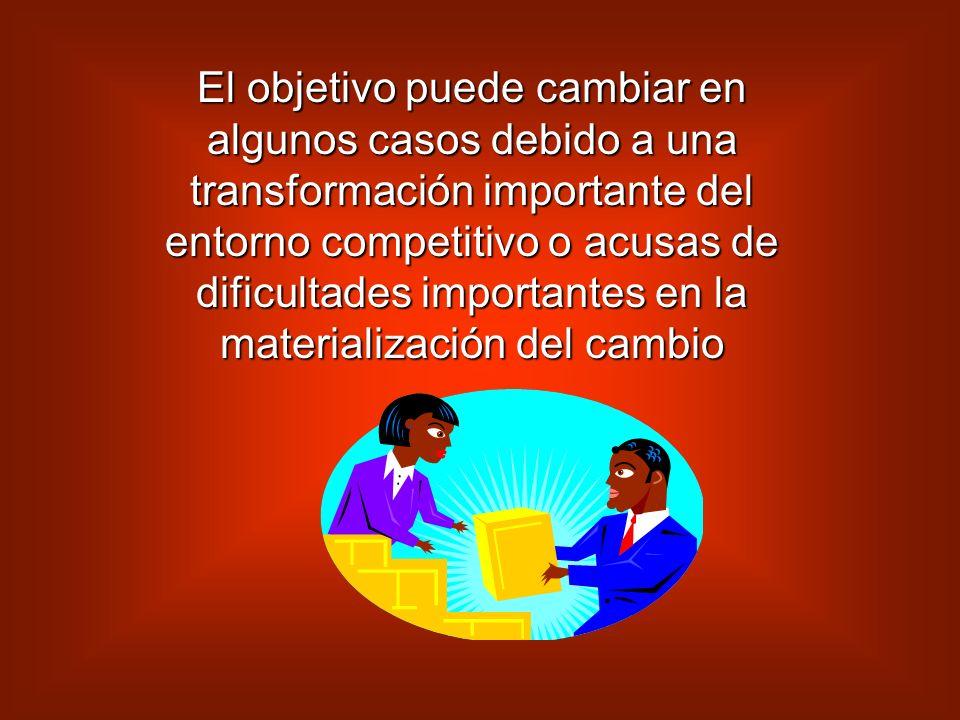 El objetivo puede cambiar en algunos casos debido a una transformación importante del entorno competitivo o acusas de dificultades importantes en la materialización del cambio