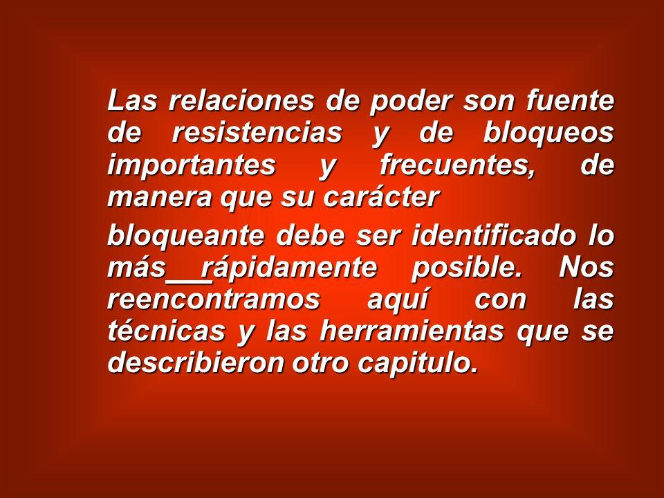 Las relaciones de poder son fuente de resistencias y de bloqueos importantes y frecuentes, de manera que su carácter