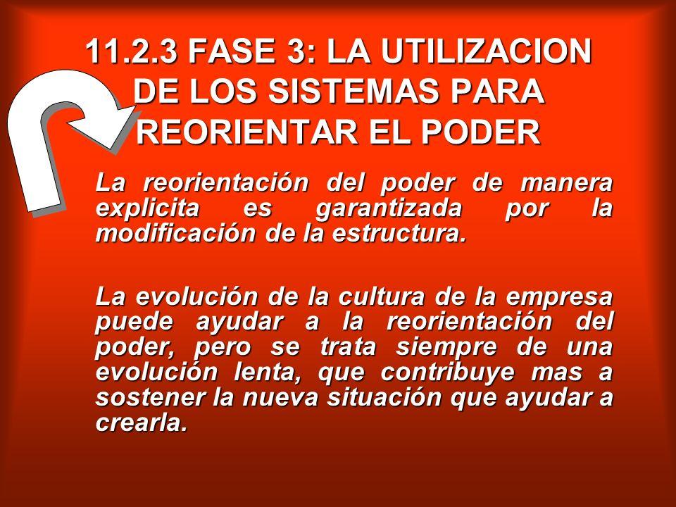 11.2.3 FASE 3: LA UTILIZACION DE LOS SISTEMAS PARA REORIENTAR EL PODER