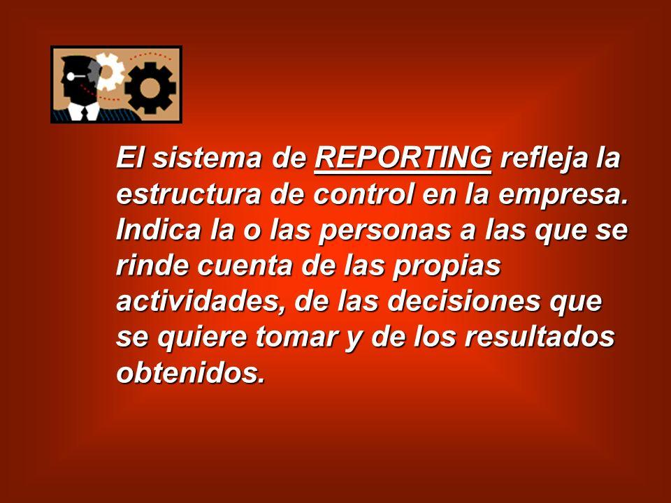 El sistema de REPORTING refleja la estructura de control en la empresa