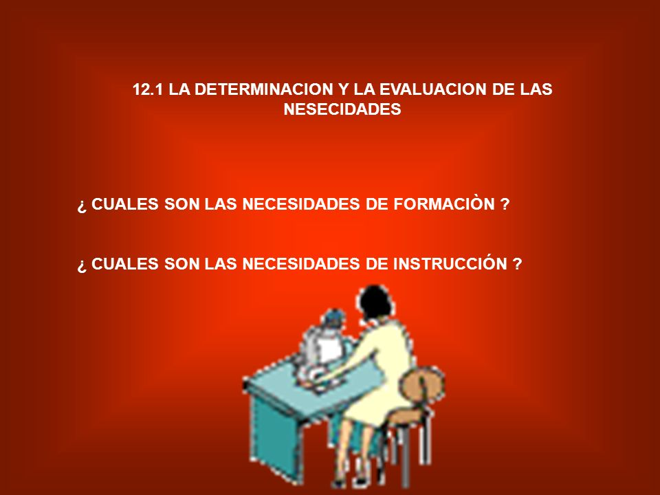 12.1 LA DETERMINACION Y LA EVALUACION DE LAS NESECIDADES
