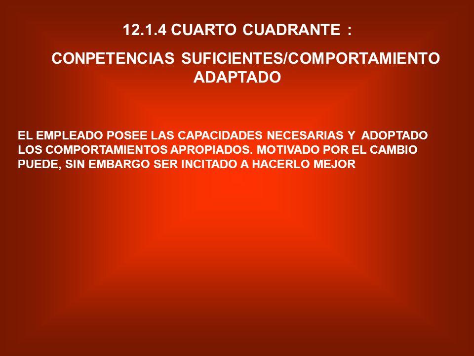 CONPETENCIAS SUFICIENTES/COMPORTAMIENTO ADAPTADO