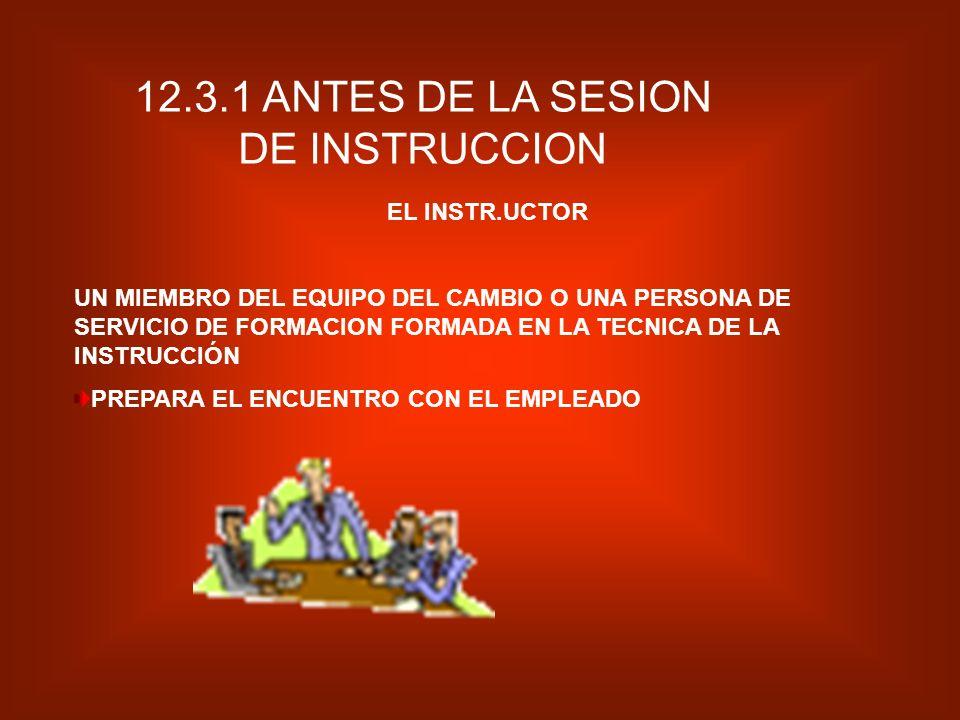 12.3.1 ANTES DE LA SESION DE INSTRUCCION