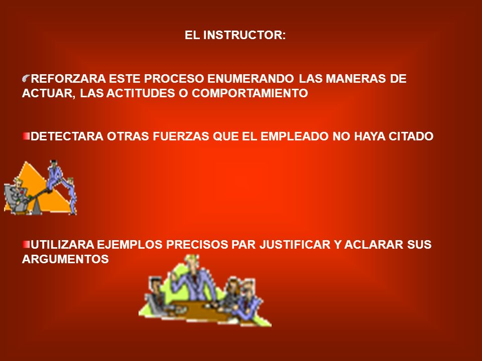EL INSTRUCTOR: REFORZARA ESTE PROCESO ENUMERANDO LAS MANERAS DE ACTUAR, LAS ACTITUDES O COMPORTAMIENTO.