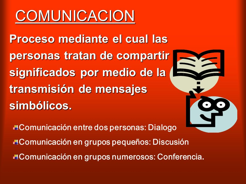 COMUNICACION Proceso mediante el cual las personas tratan de compartir