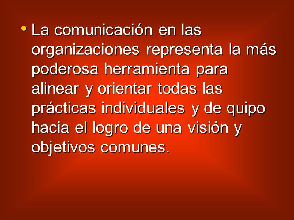 La comunicación en las organizaciones representa la más poderosa herramienta para alinear y orientar todas las prácticas individuales y de quipo hacia el logro de una visión y objetivos comunes.