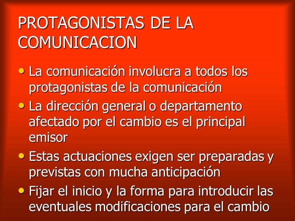 PROTAGONISTAS DE LA COMUNICACION
