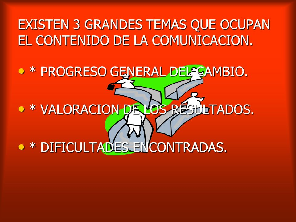 EXISTEN 3 GRANDES TEMAS QUE OCUPAN EL CONTENIDO DE LA COMUNICACION.
