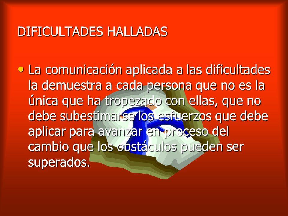 DIFICULTADES HALLADAS