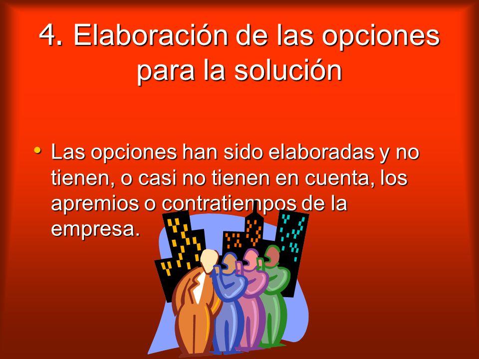 4. Elaboración de las opciones para la solución