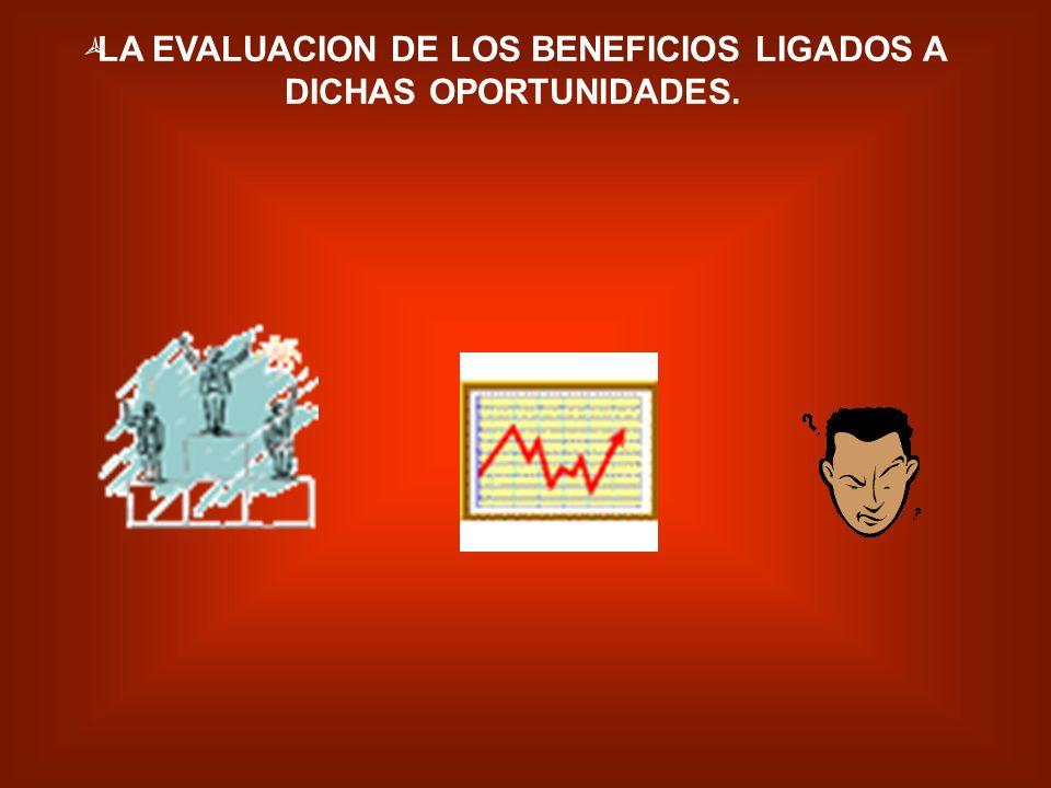 LA EVALUACION DE LOS BENEFICIOS LIGADOS A DICHAS OPORTUNIDADES.