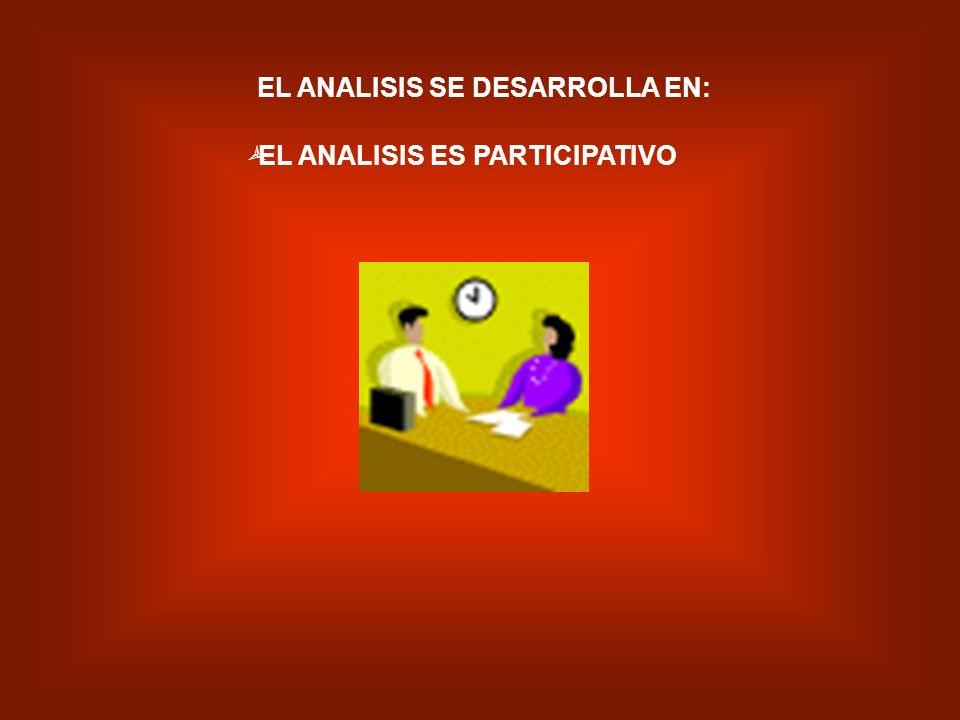 EL ANALISIS SE DESARROLLA EN: EL ANALISIS ES PARTICIPATIVO