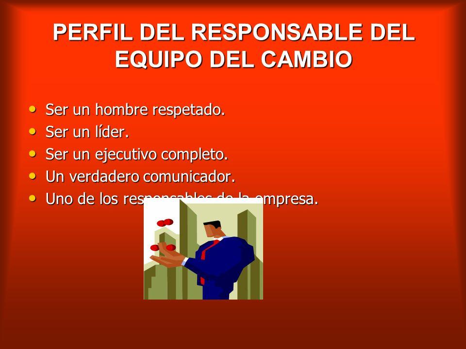 PERFIL DEL RESPONSABLE DEL EQUIPO DEL CAMBIO