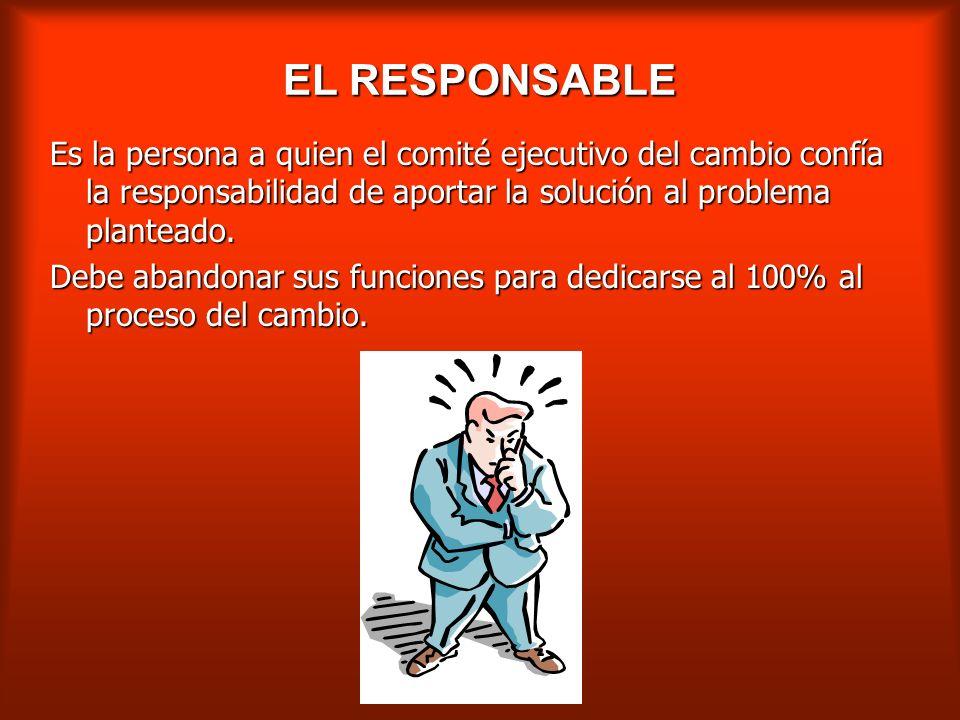 EL RESPONSABLE Es la persona a quien el comité ejecutivo del cambio confía la responsabilidad de aportar la solución al problema planteado.