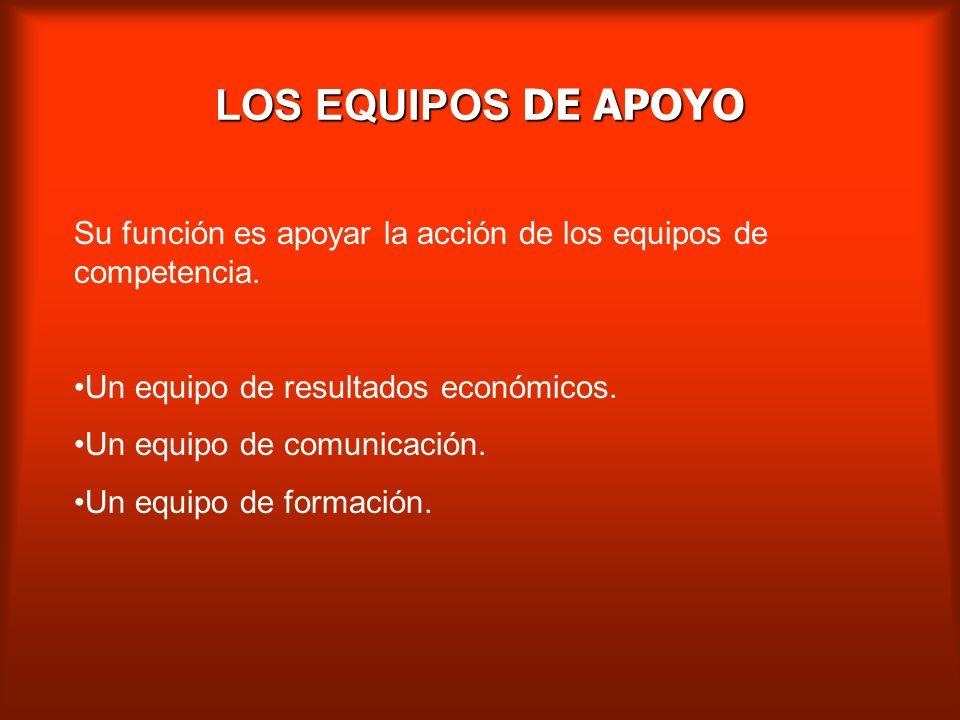 LOS EQUIPOS DE APOYO Su función es apoyar la acción de los equipos de competencia. Un equipo de resultados económicos.