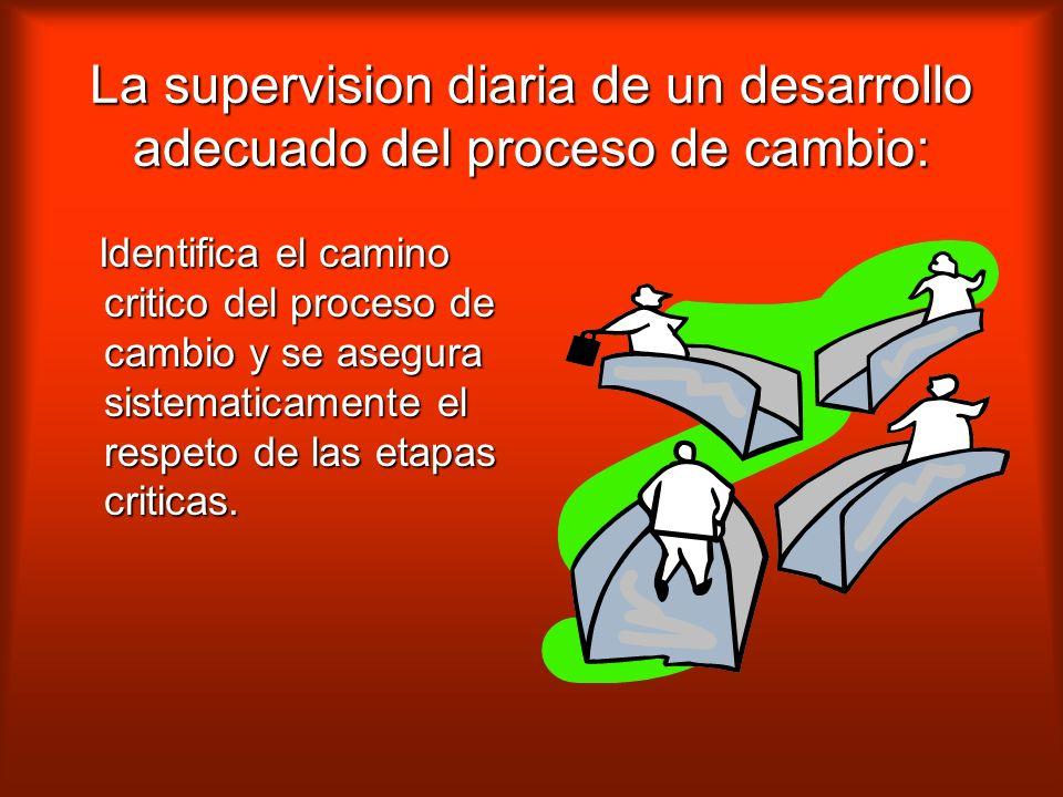 La supervision diaria de un desarrollo adecuado del proceso de cambio: