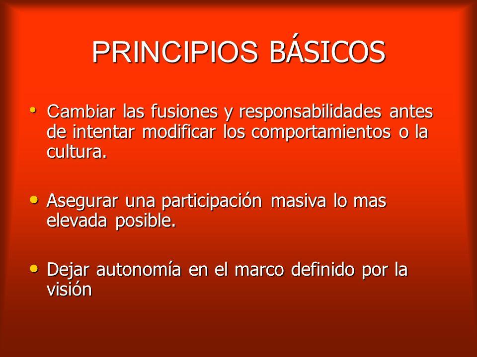 PRINCIPIOS BÁSICOS Cambiar las fusiones y responsabilidades antes de intentar modificar los comportamientos o la cultura.