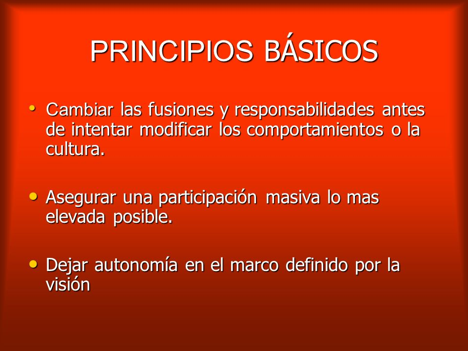 PRINCIPIOS BÁSICOSCambiar las fusiones y responsabilidades antes de intentar modificar los comportamientos o la cultura.