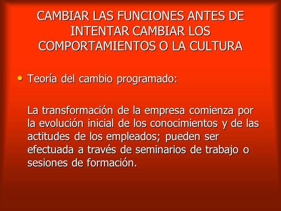 CAMBIAR LAS FUNCIONES ANTES DE INTENTAR CAMBIAR LOS COMPORTAMIENTOS O LA CULTURA