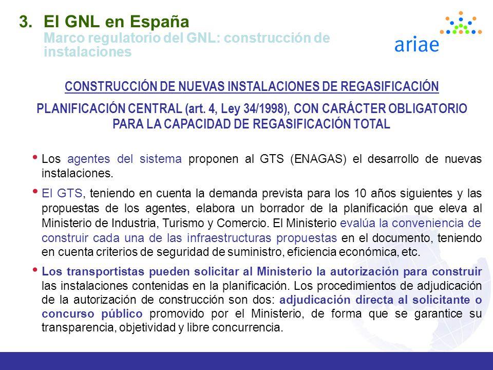 El GNL en España Marco regulatorio del GNL: construcción de