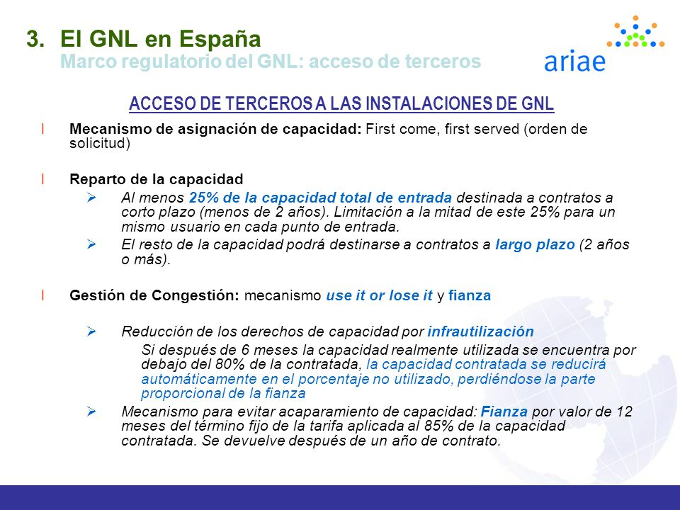 ACCESO DE TERCEROS A LAS INSTALACIONES DE GNL
