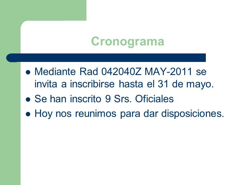 Cronograma Mediante Rad 042040Z MAY-2011 se invita a inscribirse hasta el 31 de mayo. Se han inscrito 9 Srs. Oficiales.