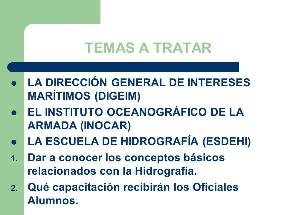 TEMAS A TRATAR LA DIRECCIÓN GENERAL DE INTERESES MARÍTIMOS (DIGEIM)