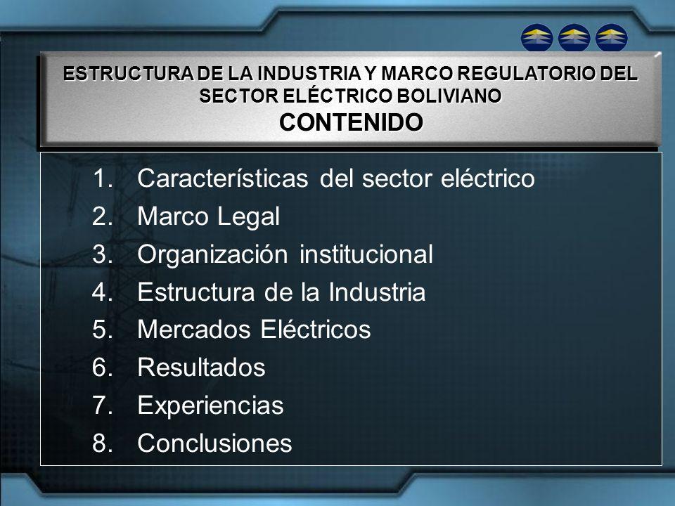 Características del sector eléctrico Marco Legal