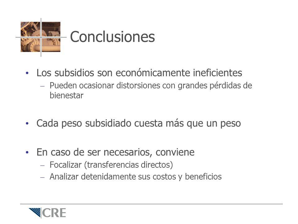 Conclusiones Los subsidios son económicamente ineficientes