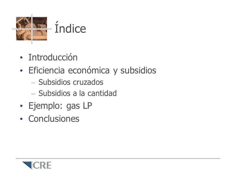 Índice Introducción Eficiencia económica y subsidios Ejemplo: gas LP