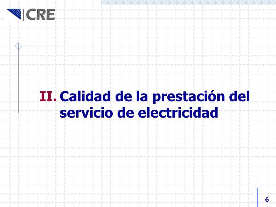 Calidad de la prestación del servicio de electricidad