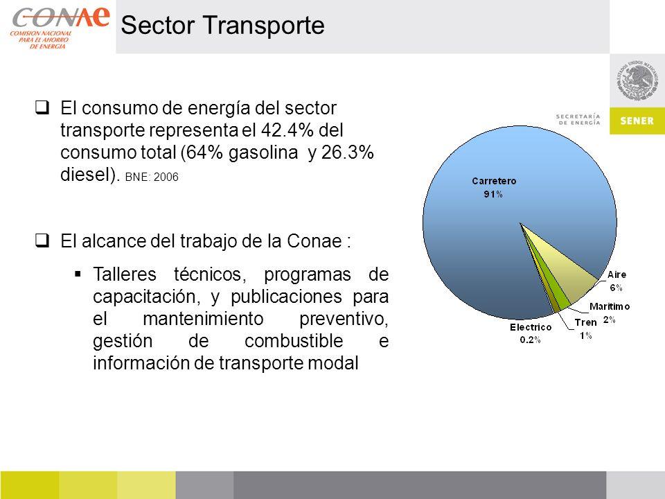 Sector Transporte El consumo de energía del sector transporte representa el 42.4% del consumo total (64% gasolina y 26.3% diesel). BNE: 2006.