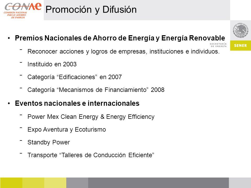Promoción y Difusión Premios Nacionales de Ahorro de Energía y Energía Renovable.