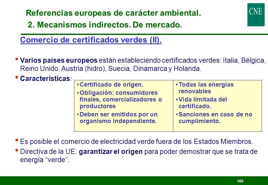 Referencias europeas de carácter ambiental. 2. Mecanismos indirectos