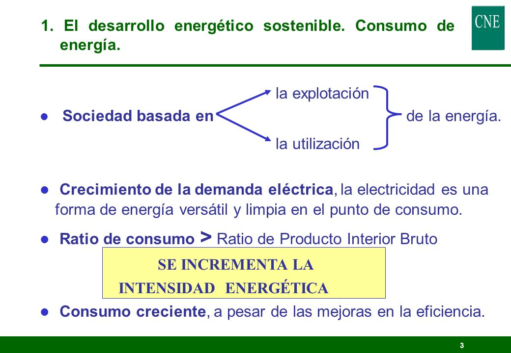 1. El desarrollo energético sostenible. Consumo de energía.