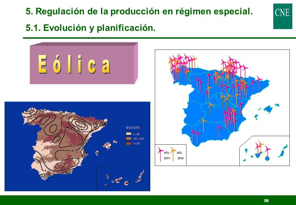 Eólica 5. Regulación de la producción en régimen especial.