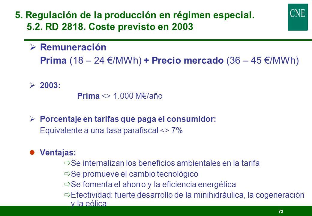 5. Regulación de la producción en régimen especial.