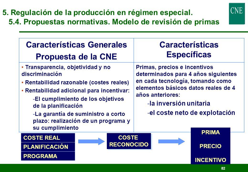 Características Generales Características Específicas