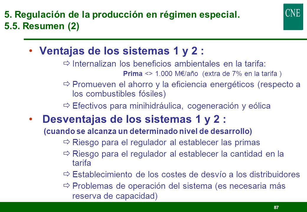 Ventajas de los sistemas 1 y 2 :