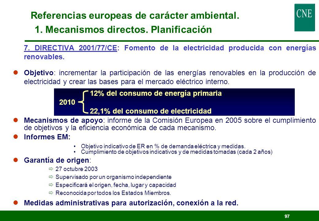 Referencias europeas de carácter ambiental. 1. Mecanismos directos